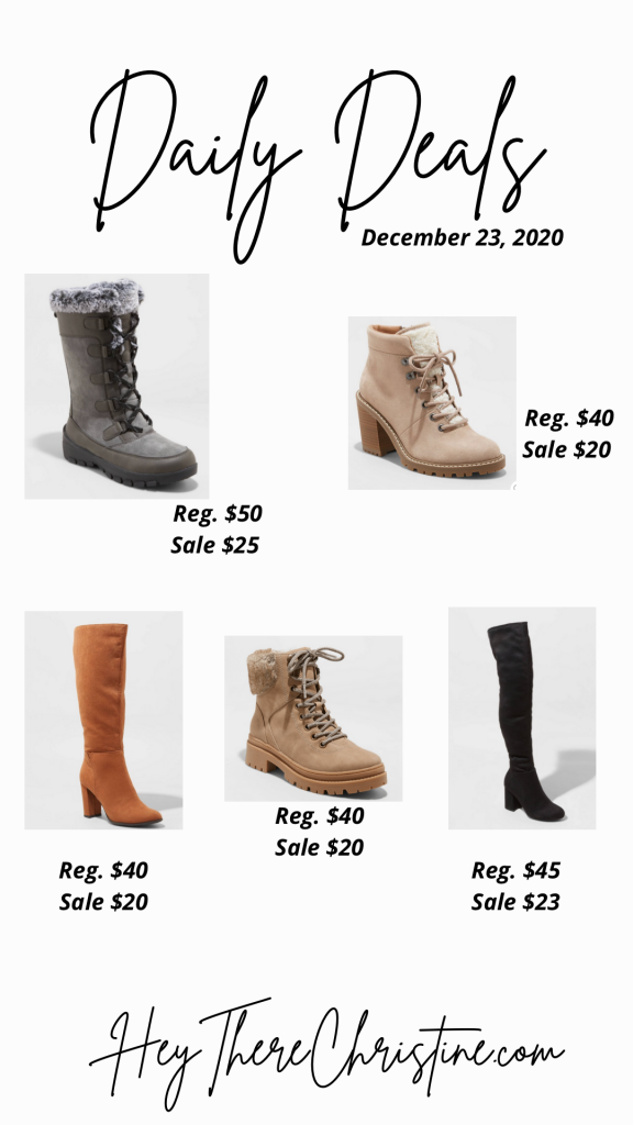 daily deals 12/23. target boots
