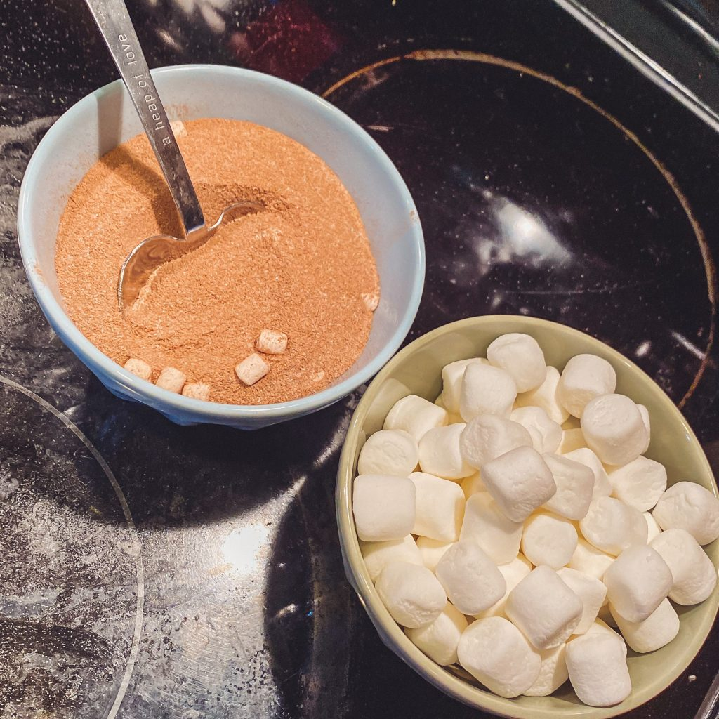 hot cocoa mix and marshmallows