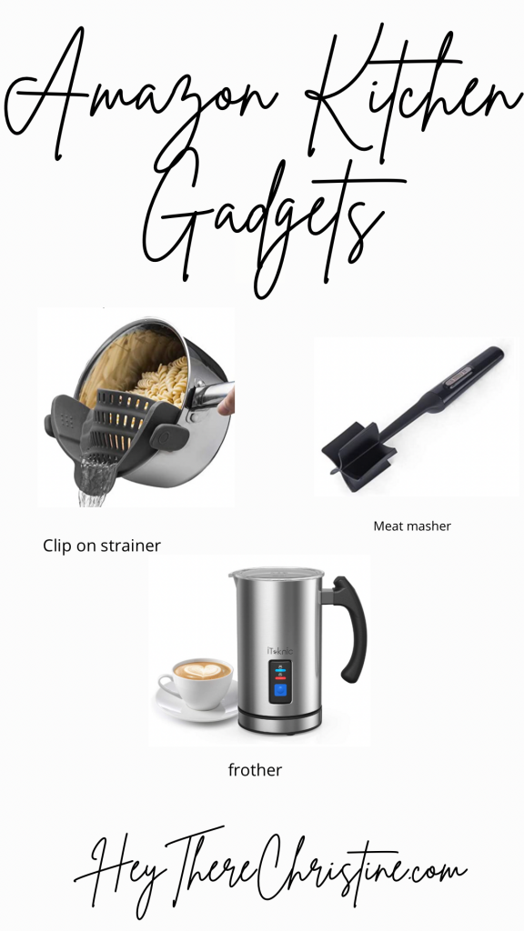 amazon kitchen gadgets; frother, strainer, meat masher