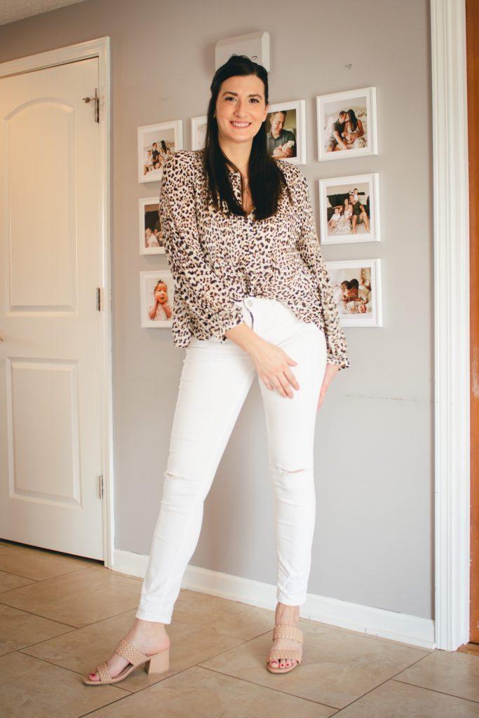 animal print and white pants
